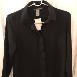 Silky hm button down black
